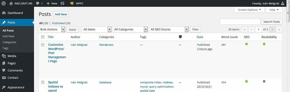 Customize Wordpress Post Management Page
