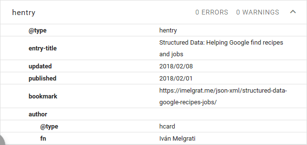 Fixed hentry Structured Data